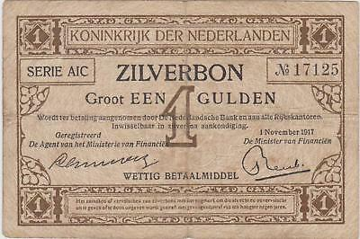 Netherlands 1 gulden 1917 / F / P 10 / 274 / Silver note
