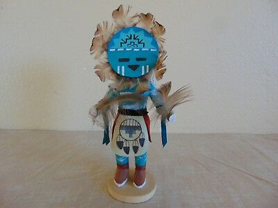"KACHINA DOLL SIGNED ""SUNFACE KCz"" HAND CARVED 8"" TALL"