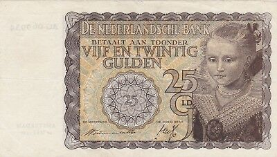Netherlands 25 gulden 1940 / Vf + / P 57 / 278 / withdrawn in German occupation