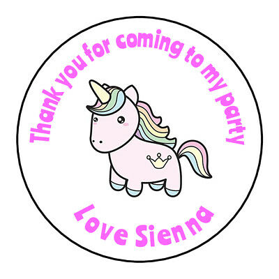 Unicorn Personalised Thank You Stickers Party Bag Sweetie