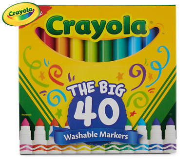 Crayola The Big 40 Set Of Washable Assorted Colour Art Markers For Boys Or Girls
