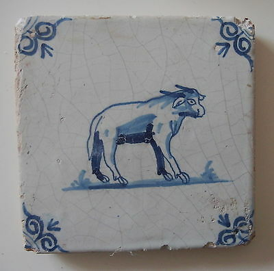 "17th century DUTCH DELFT TILE ""COW / BULL"" (c.1650)"