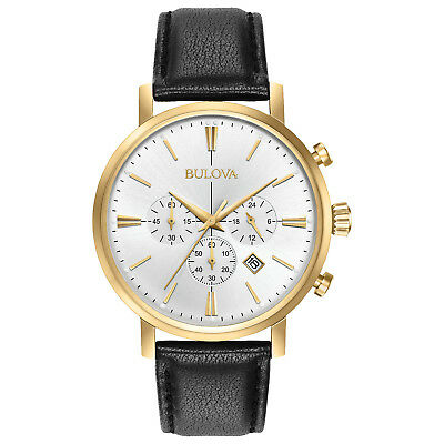 Bulova Classic Men's Quartz Chronograph Gold Tone Case 41mm Watch 97B155