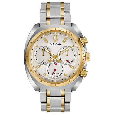 Bulova CURV Men's Quartz Chronograph Gold Tone Accents 43mm Watch 98A157