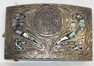 Plata De Jalisco Sterling Silver And Abalone Belt Buckle