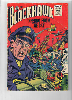"""BLACKHAWK #87 - Grade 5.0 - Golden Age """"Inferno From The Sky!"""""""