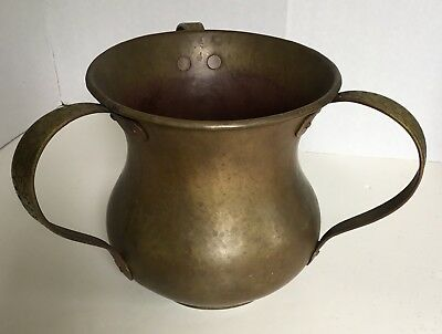 Antique RUSSIAN Imperial BRASS Hammered LAVER 3 Handled Arts&Crafts JUDAICA