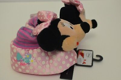 NWT Pink Disney Minnie Mouse Toddler Girls Plush Sock top Slipper with Bow 7/8