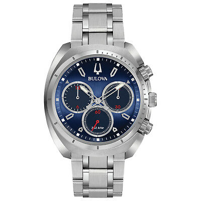 Bulova Curv Men's Chronograph Blue Dial Quartz Bracelet 43mm Watch 96A185