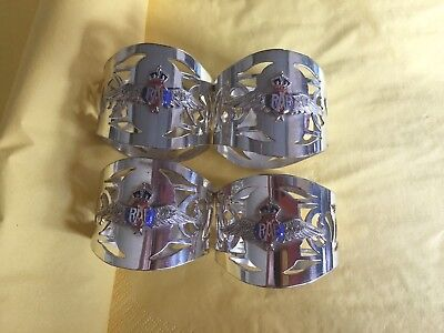 Four RAF silver plated napkin rings with RAF Wings - Rare Opportunity for Set