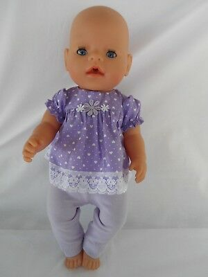 Handmade dolls clothes (Dress, Leggings set) to fit 40-43cm 17in, Baby Born doll