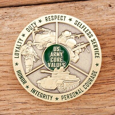 """Army Core Values Silver 1.75"""" Challenge Coin"""