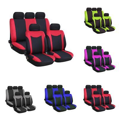 9Pcs Universal Auto Seat Covers Full Set Front&Rear Seat Back Head Rest Protecor