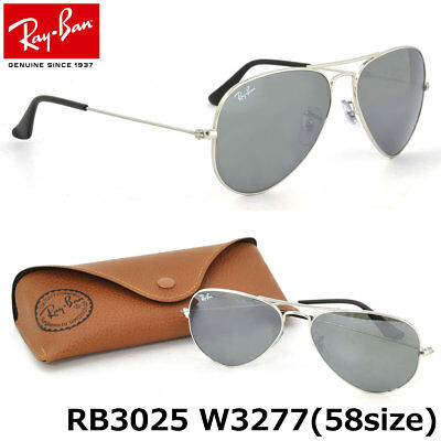 9a69956a1a2 New Authentic Ray Ban RB3025 W3277 Classic Aviator Silver w Silver Mirror  58mm