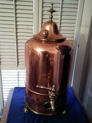Antique Victorian Copper & Brass Water Tea Coffee Urn Boiler Possible Ice Bucket