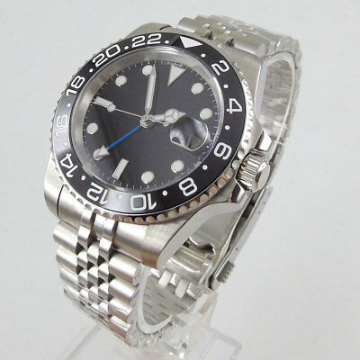 38.9MM Black Sterile Watch Dial Silver Marks Fit For ETA 6498 ST3600 Movement
