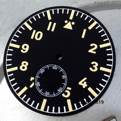47.5mm Black Watch Dial Yellow Marks Luminous Numerals Fit For ETA 6498 Movement