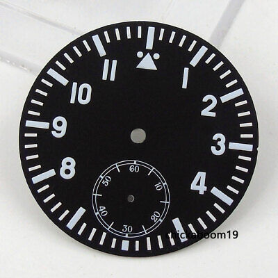 38.9MM Black Sterile Dial Silver Numerals Fit For ETA 6498 Hand-Winding Movement