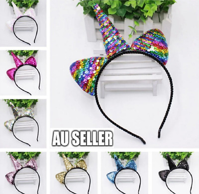 Unicorn Rainbow Sequins EARS HEADBAND COSTUME Bow Fancy Dress Unisex Party F