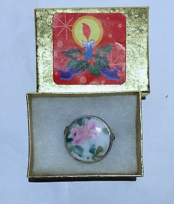 ChArMiNg*ANTIQUE VICTORIAN PORCELAIN /CHINA HAND PAINTED PIN/BROOCH~GIFT BOXED