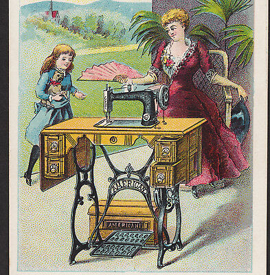 American Sewing Machine 1800's Philadelphia Pug Victorian Advertising Trade Card