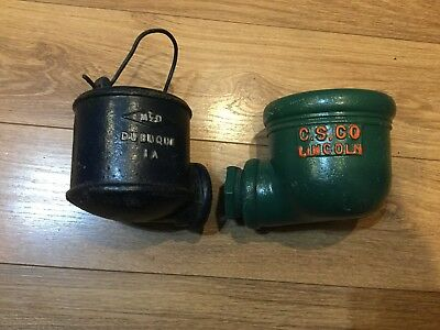 2 Vintage Cast Iron Water Well Pump Diverted Conductor Cups