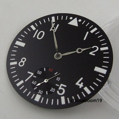 38.9mm Black Sterile Watch Dial White Numerals Marks Fit For ETA 6498 Movement