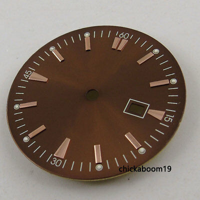 New 34.8MM Watch Dial Rose Golden Marks Date Fit For MIYOTA 8215 8205 Movement