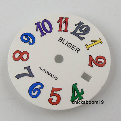28.5MM White Dial Date Colorful Numerals Fit Mingzhu 2813 Miyota 8215 Movement