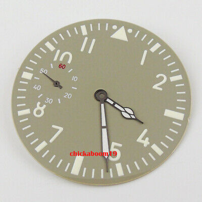34.5MM Luminous Stainless Steel Black Sterile Watch Dial Fit For 6497 Movement