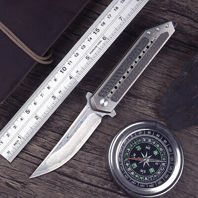 Todd Berg carbon fiber quick opening bearing folding knifedamascus blade knife