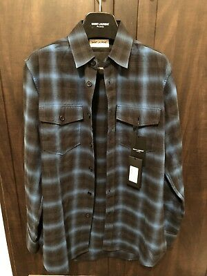 1c32925f169 SAINT LAURENT PARIS Plaid Flannel Shirt Blue & White Plaid sz. 42 ...
