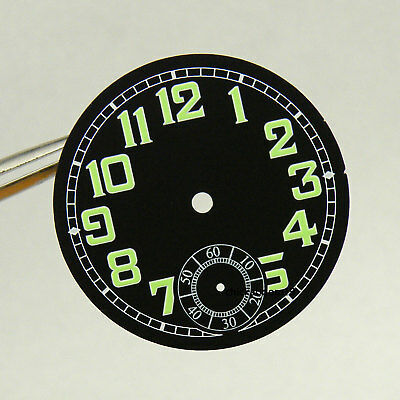 35MM Black Dial Green Numerals Luminous Marks Fit ETA 6498 Hand Winding Movement