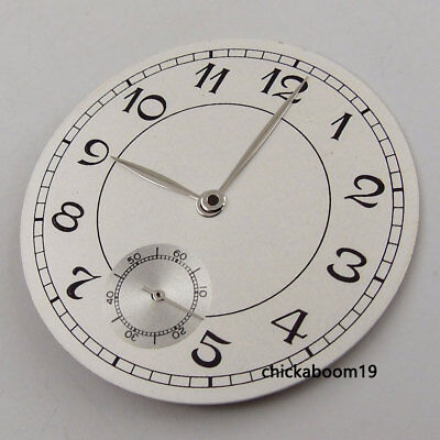 38.9MM White Dial Black Numerals Fit For ETA 6498 Movement+Silver Watch Hands