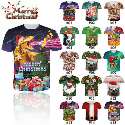 Womens Mens Animal Print 3D Graphic T-shirt Casual Tee Tops Xmas Christmas Shirt