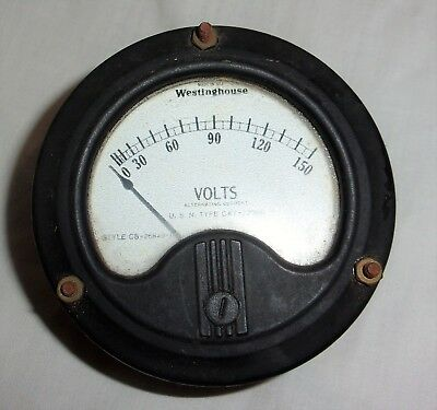 Old WWII US Navy Aircraft AC Volt Gauge Westinghouse USN Type CAY-22084 NA-35 &