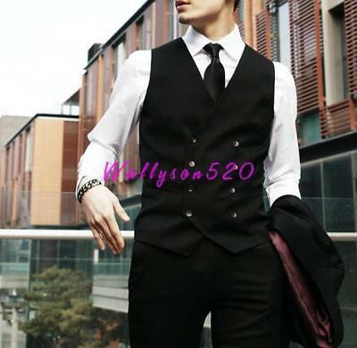 Mens Wedding Vest Tie Suit Tuxedo Formal Waistcoat Double Breasted  dress Coat