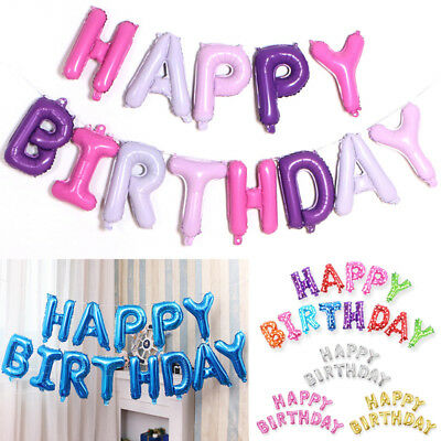 Happy Birthday Balloons Party Banner Bunting Self Inflating Letters Foil Balloon