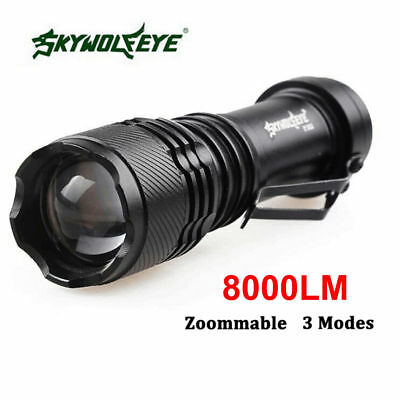 SkyWolfeye 8000 LM Q5 LED Flashlight Zoomble Mini Light Lamp AA 14500 BLACK BS