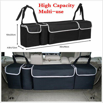 Black Oxford Cloth High Capacity Multi-use Car Seat Back Organizers Storage Bag