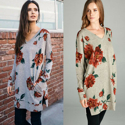 Sexy Womens Plus Size Long T-shirt Ladies Casual Party Mini Dress Blouse Tops