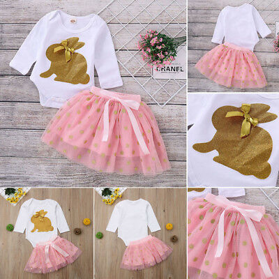 Newborn Baby Girl Long Sleeve Easter Rabbit Romper+Skirt Dress Clothes Outfits