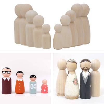 10x Natural Unfinished Wooden Peg Doll Bodies People Shapes Art Craft Kid Toys M