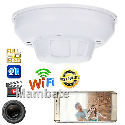 HD 1080P WiFi SPY IP Camera Hidden Smoke Detector Motion Detection Nanny Cam DVR