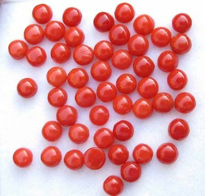 Natural Italian Red Coral 3mm Round Cabochon Loose Gemstone Lot