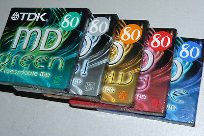 "5x TDK MD80  MiniDisc - MD - MiniDisk - Color  -  ""NEU in OVP""   Sealed !!"