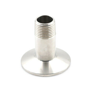 "1/2"" Sanitary Male Threaded NPT Ferrule Pipe Fitting to 1.5"" Tri Clamp SS304 HDU"
