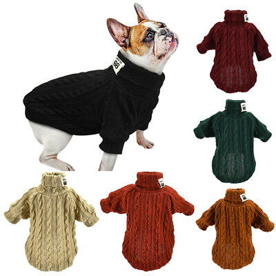 New Dog Jumper Knitwear Chihuahua Clothes Warm Pet Puppy Turtle Neck Sweaters UK