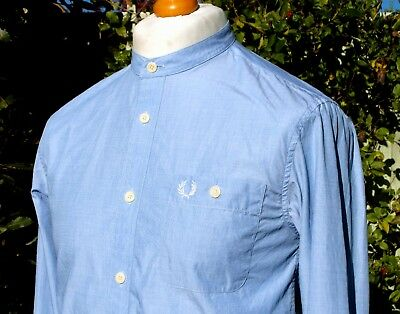 """Fred Perry Grandad Collar Chambray Shirt - S/M - 38"""" - Ska Mod Casuals Scooter"""