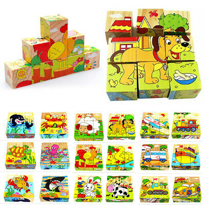 3D Wooden Cartoon Animal Puzzle Blocks Kids Baby Early Learning Educational Toys